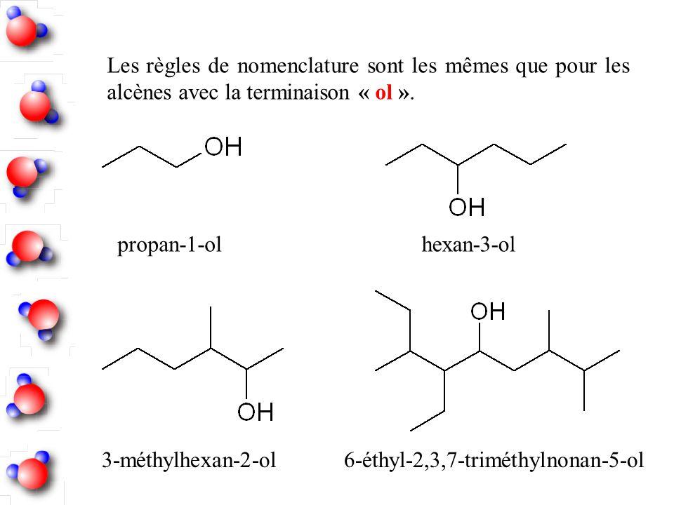 Les règles de nomenclature sont les mêmes que pour les alcènes avec la terminaison « ol ».