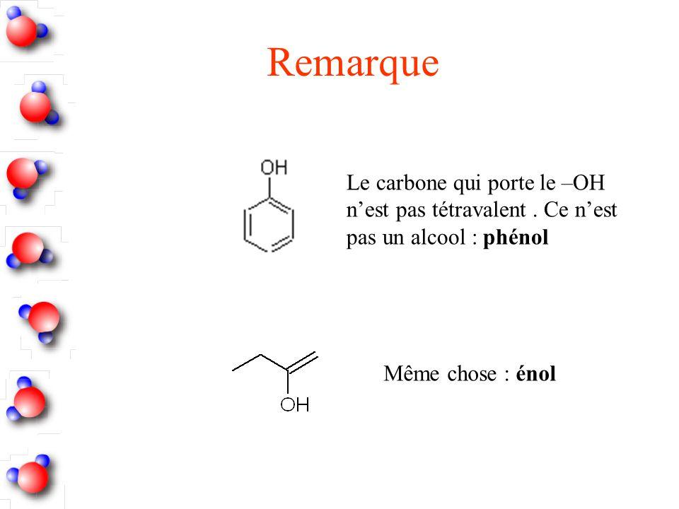 Remarque Le carbone qui porte le –OH n'est pas tétravalent .
