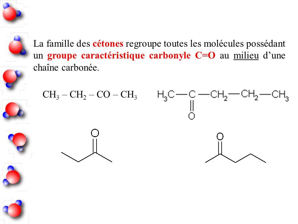 La famille des cétones regroupe toutes les molécules possédant un groupe caractéristique carbonyle C=O au milieu d'une chaîne carbonée.