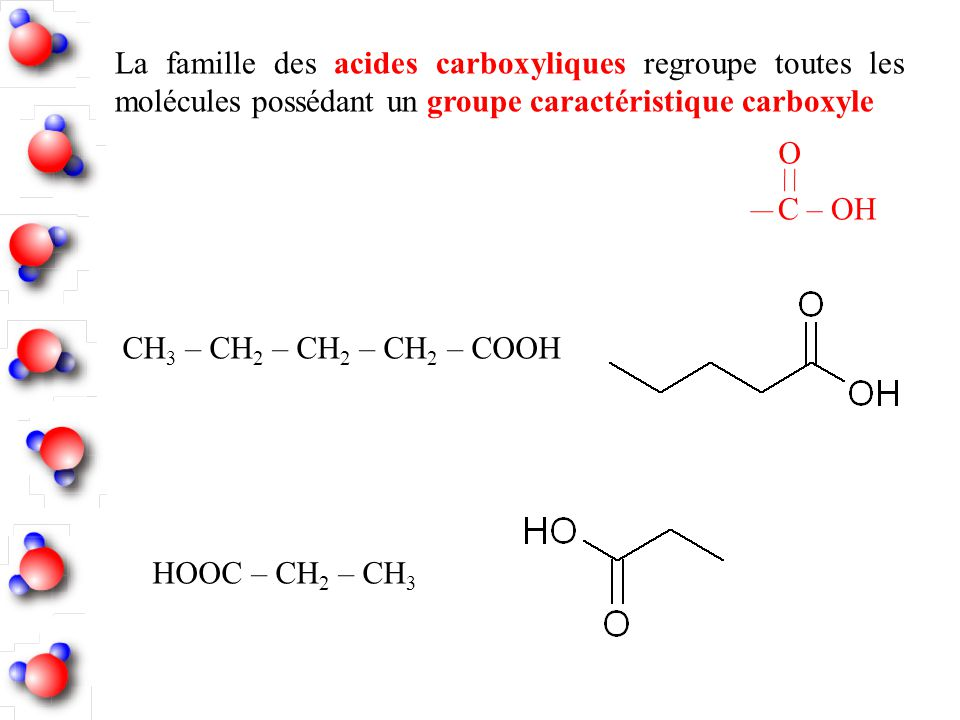 La famille des acides carboxyliques regroupe toutes les molécules possédant un groupe caractéristique carboxyle