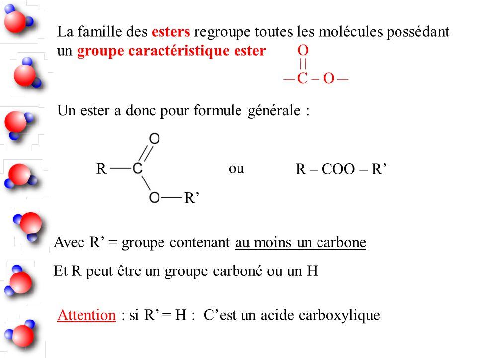La famille des esters regroupe toutes les molécules possédant un groupe caractéristique ester
