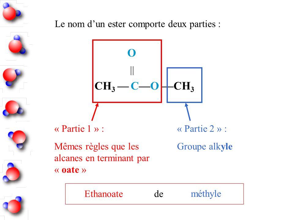 O  CH3 — C—O —CH3 Le nom d'un ester comporte deux parties :