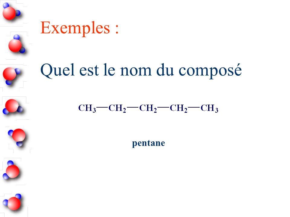 Exemples : Quel est le nom du composé
