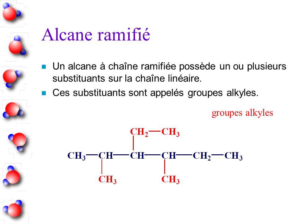 Alcane ramifié Un alcane à chaîne ramifiée possède un ou plusieurs substituants sur la chaîne linéaire.