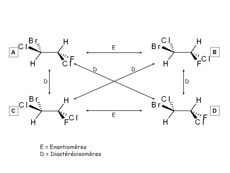 E A B D D D D C D E E = Enantiomères D = Diastéréoisomères