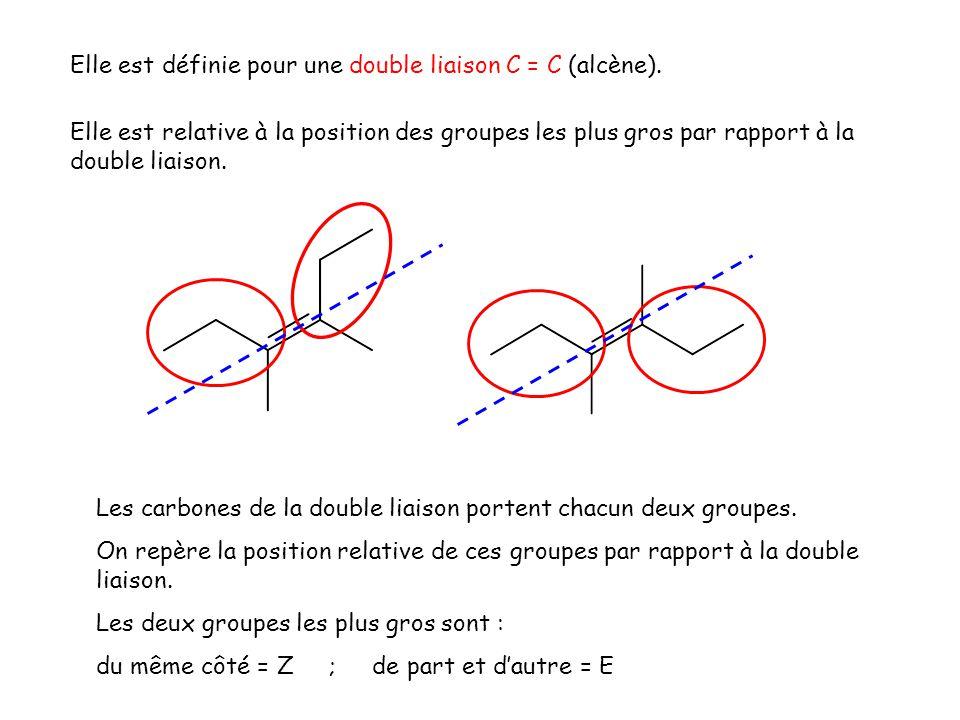Elle est définie pour une double liaison C = C (alcène).
