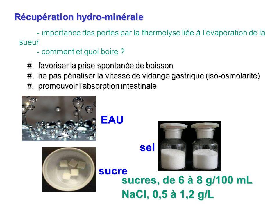 EAU sel sucre sucres, de 6 à 8 g/100 mL NaCl, 0,5 à 1,2 g/L