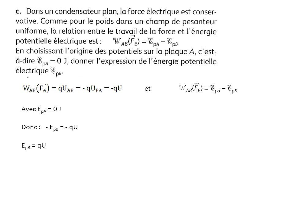 et Avec EpA = 0 J Donc : - EpB = - qU EpB = qU