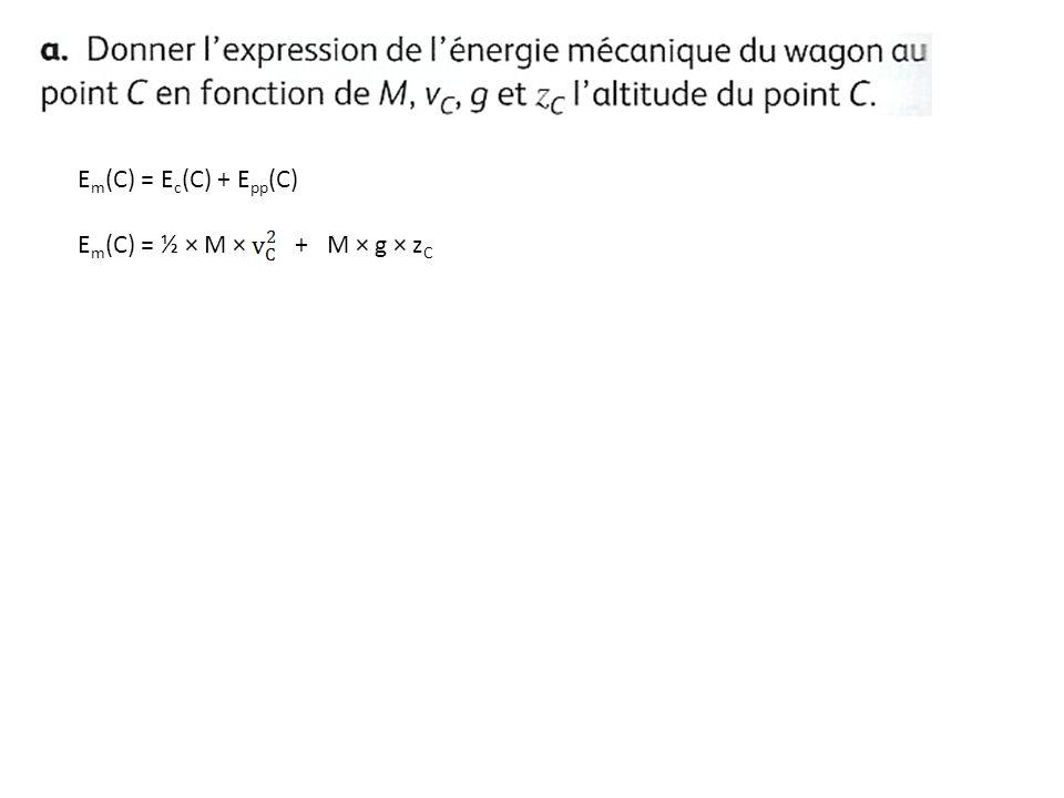 Em(C) = Ec(C) + Epp(C) Em(C) = ½ × M × + M × g × zC