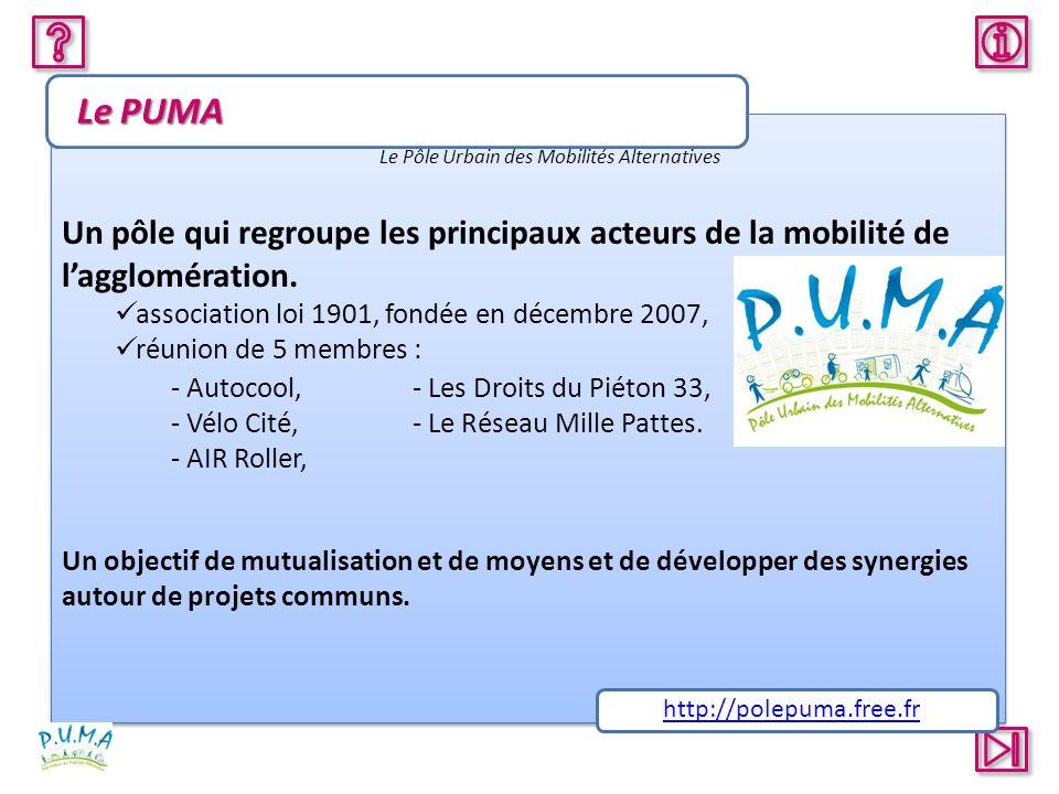 Le PUMA Le Pôle Urbain des Mobilités Alternatives. Un pôle qui regroupe les principaux acteurs de la mobilité de l'agglomération.