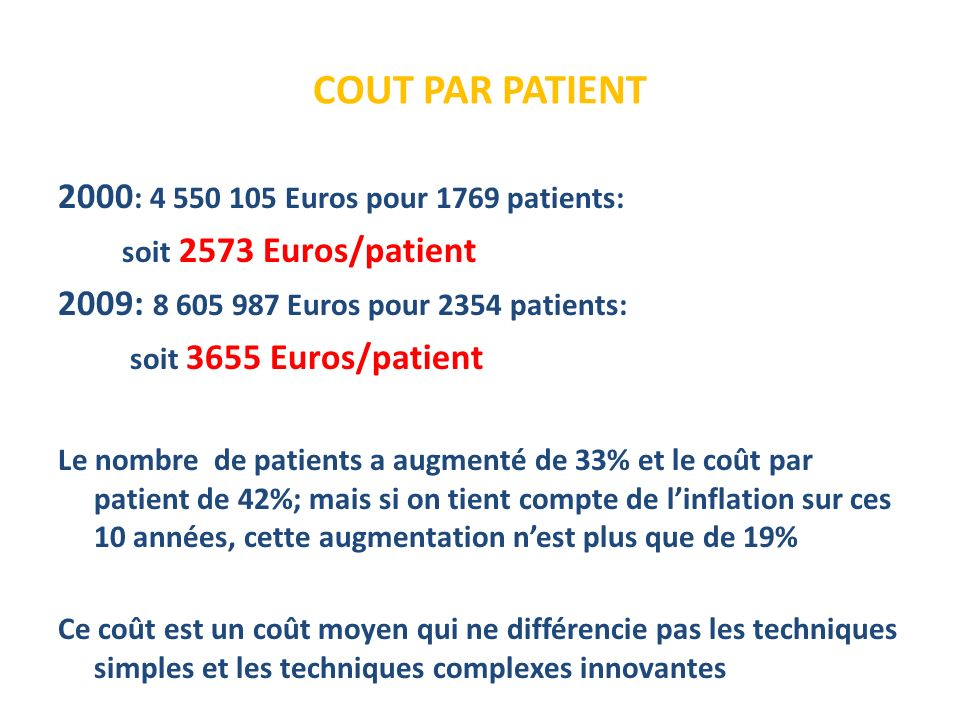 COUT PAR PATIENT 2000: 4 550 105 Euros pour 1769 patients: