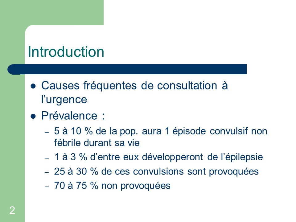 Introduction Causes fréquentes de consultation à l'urgence