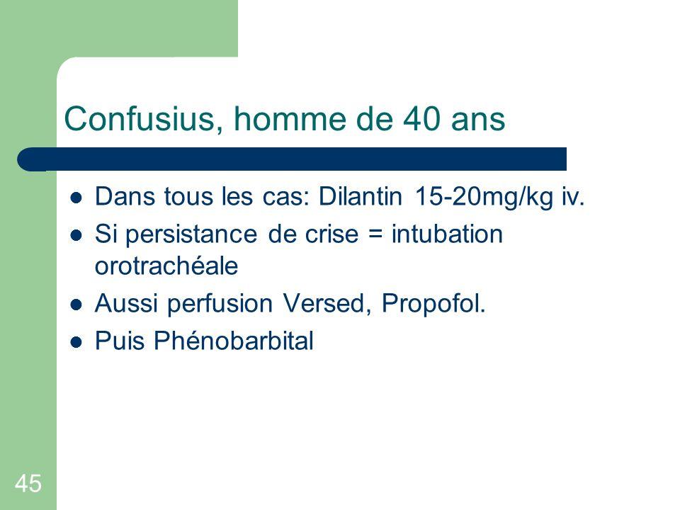 Confusius, homme de 40 ans Dans tous les cas: Dilantin 15-20mg/kg iv.