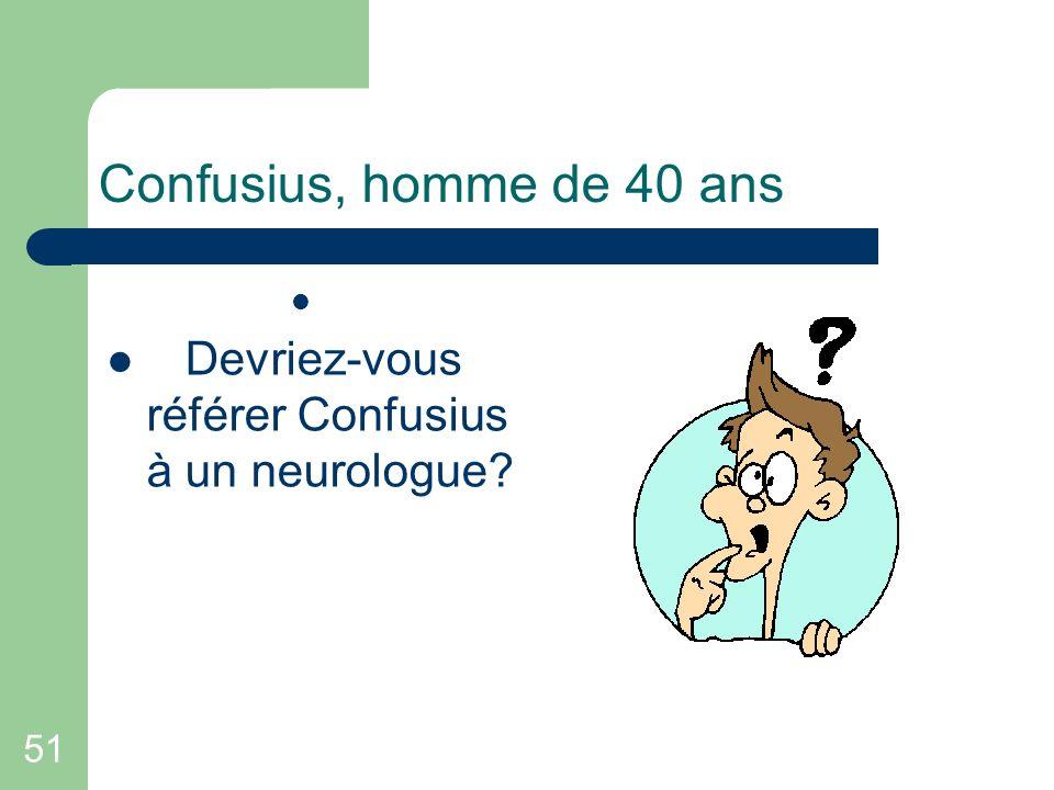 Confusius, homme de 40 ans Devriez-vous référer Confusius à un neurologue 51