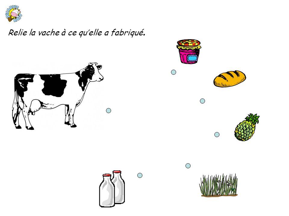 Relie la vache à ce qu'elle a fabriqué.