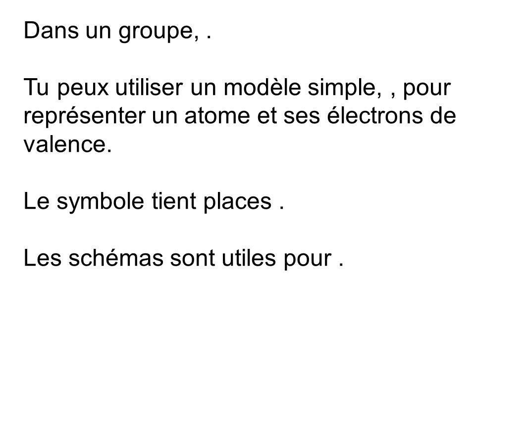 Dans un groupe, . Tu peux utiliser un modèle simple, , pour représenter un atome et ses électrons de valence.