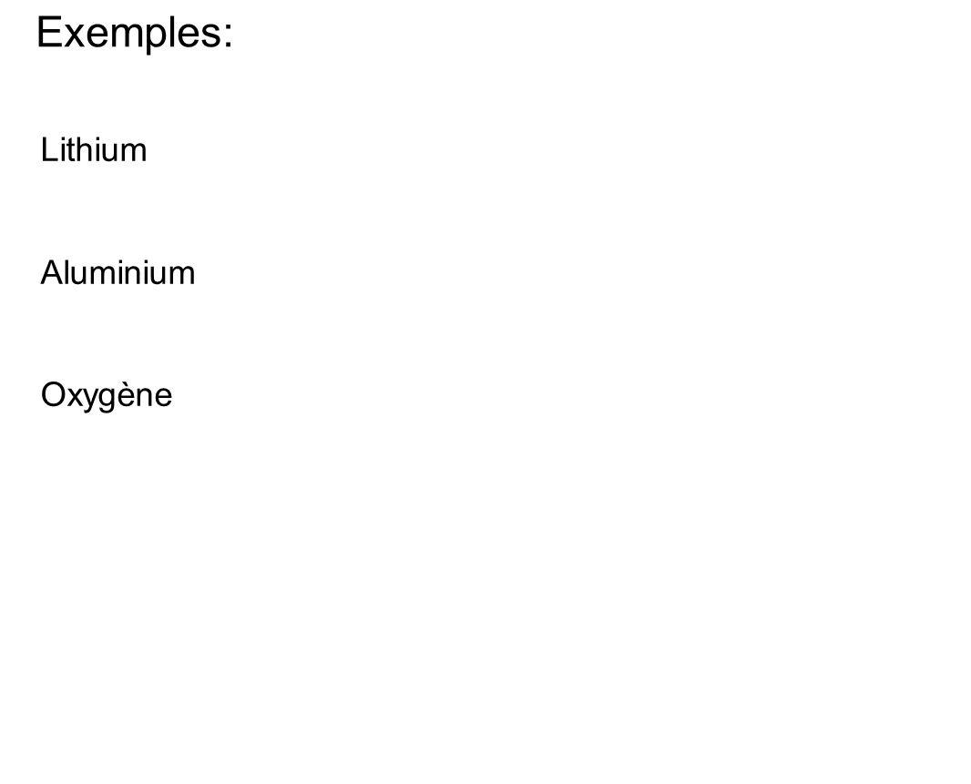Exemples: Lithium Aluminium Oxygène