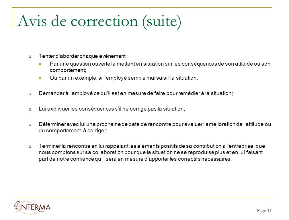 Avis de correction (suite)