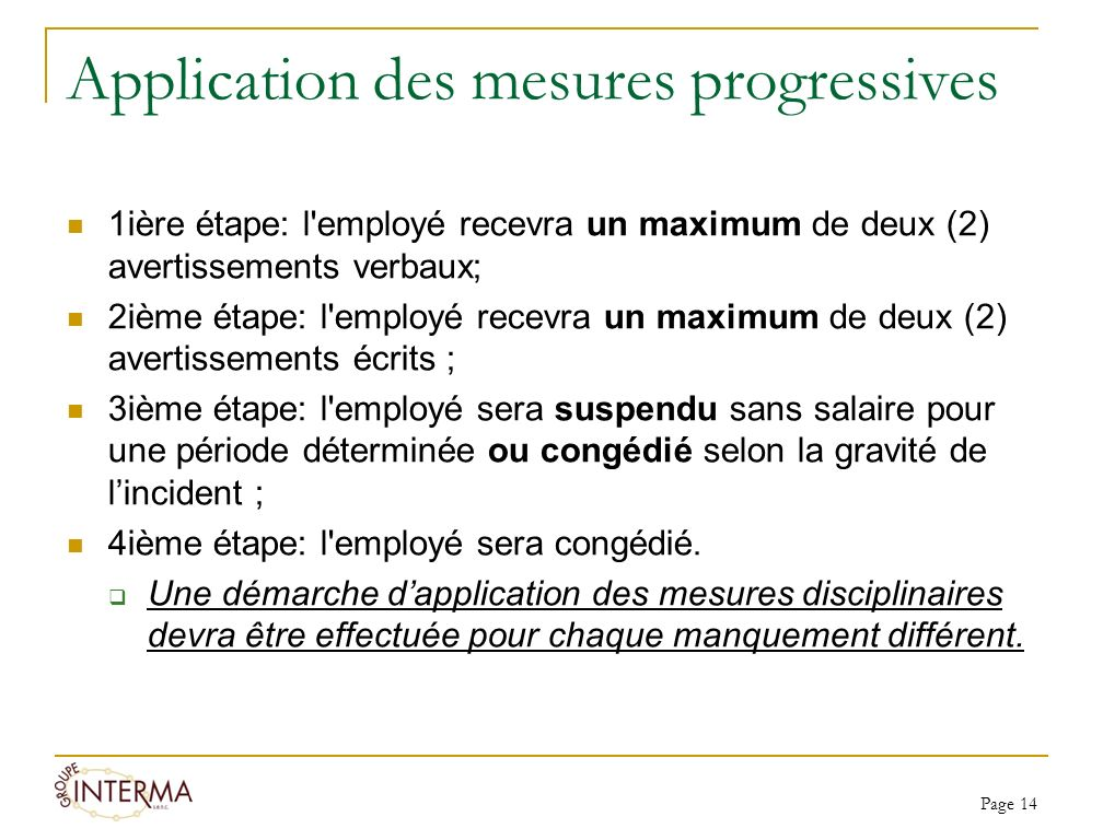 Application des mesures progressives