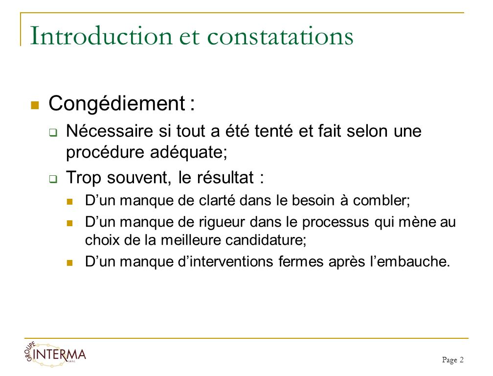 Introduction et constatations