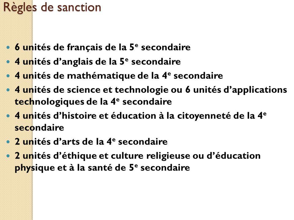 Règles de sanction 6 unités de français de la 5e secondaire
