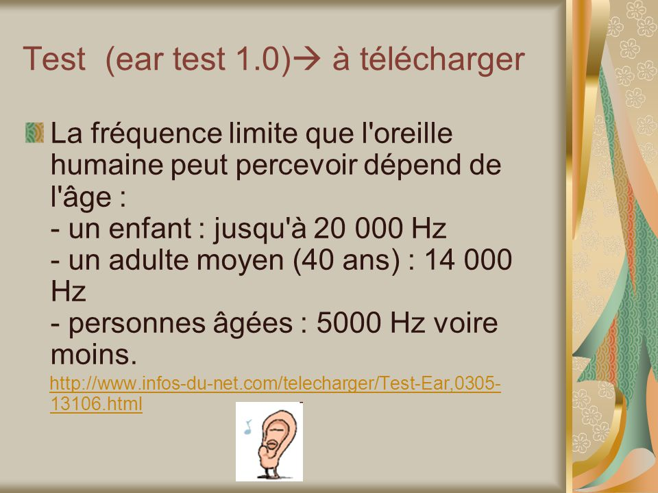 Test (ear test 1.0) à télécharger