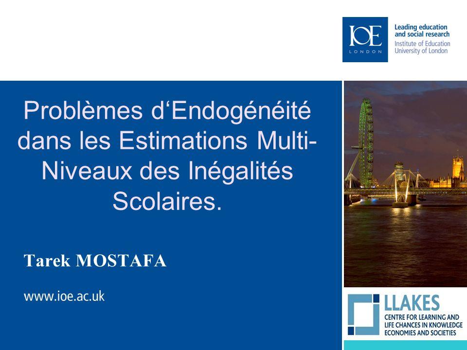 Problèmes d'Endogénéité dans les Estimations Multi-Niveaux des Inégalités Scolaires.