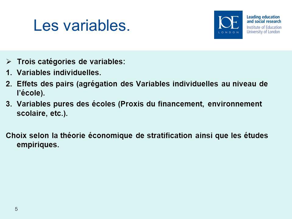 Les variables. Trois catégories de variables: Variables individuelles.