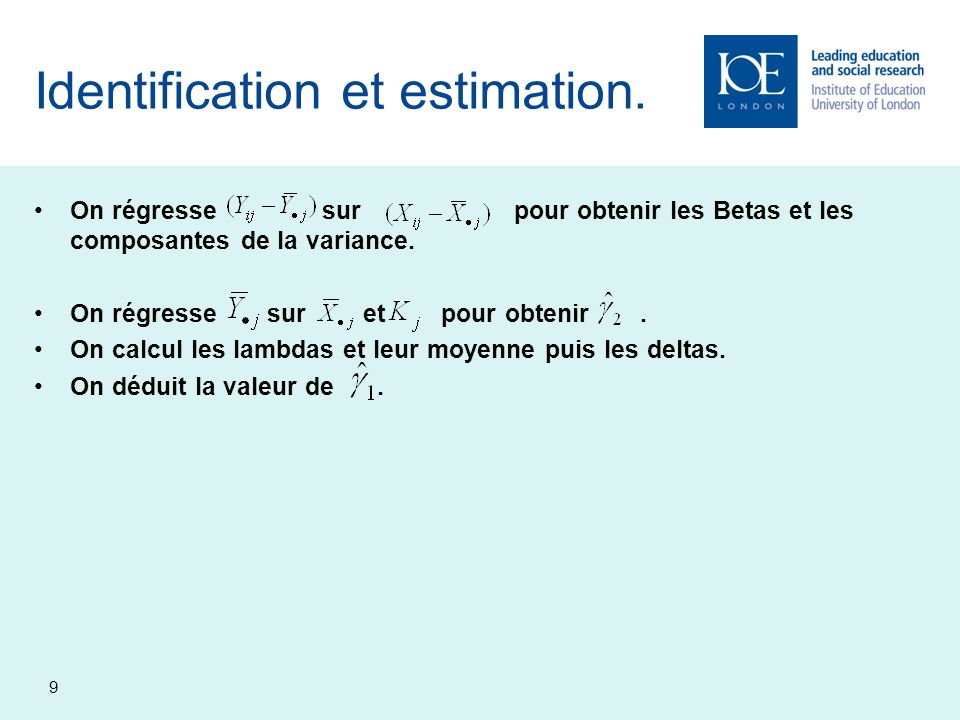Identification et estimation.