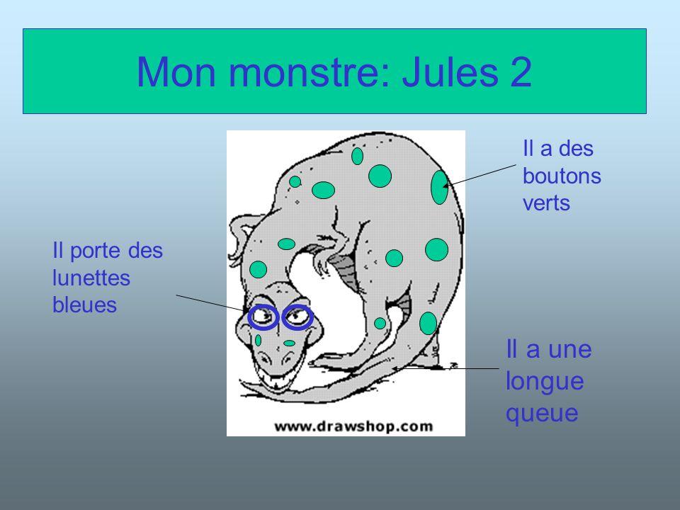 Mon monstre: Jules 2 Il a une longue queue Il a des boutons verts
