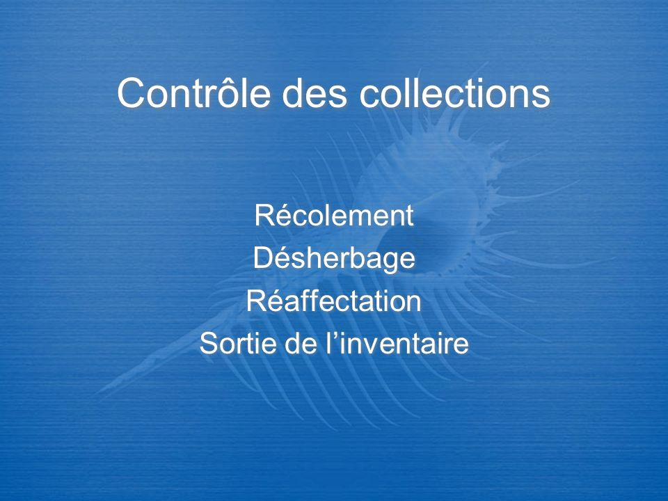 Contrôle des collections