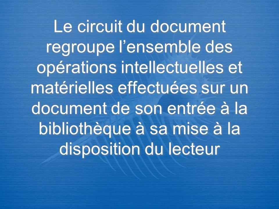 Le circuit du document regroupe l'ensemble des opérations intellectuelles et matérielles effectuées sur un document de son entrée à la bibliothèque à sa mise à la disposition du lecteur