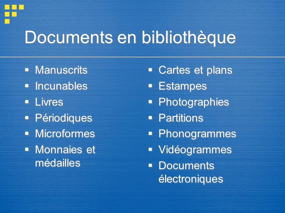Documents en bibliothèque