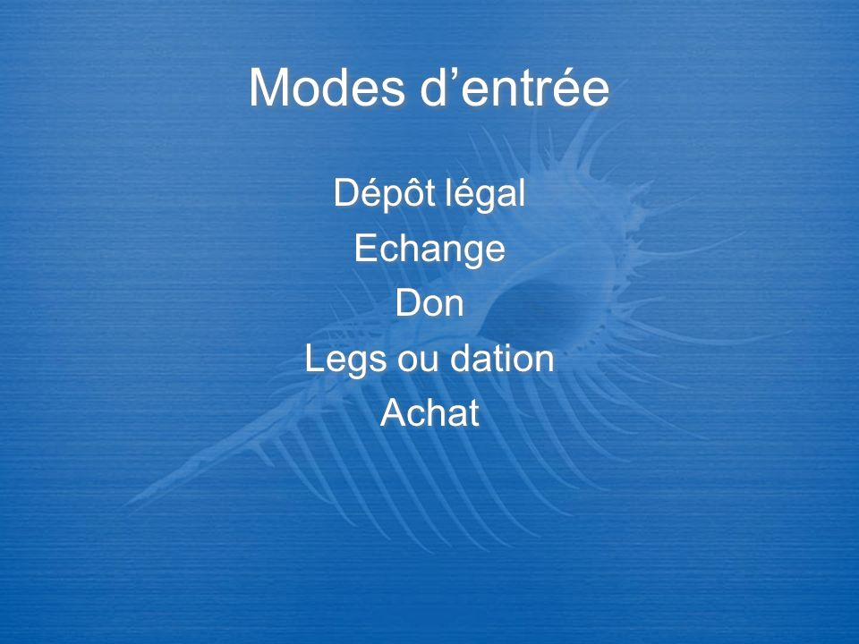 Dépôt légal Echange Don Legs ou dation Achat