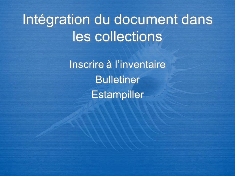 Intégration du document dans les collections