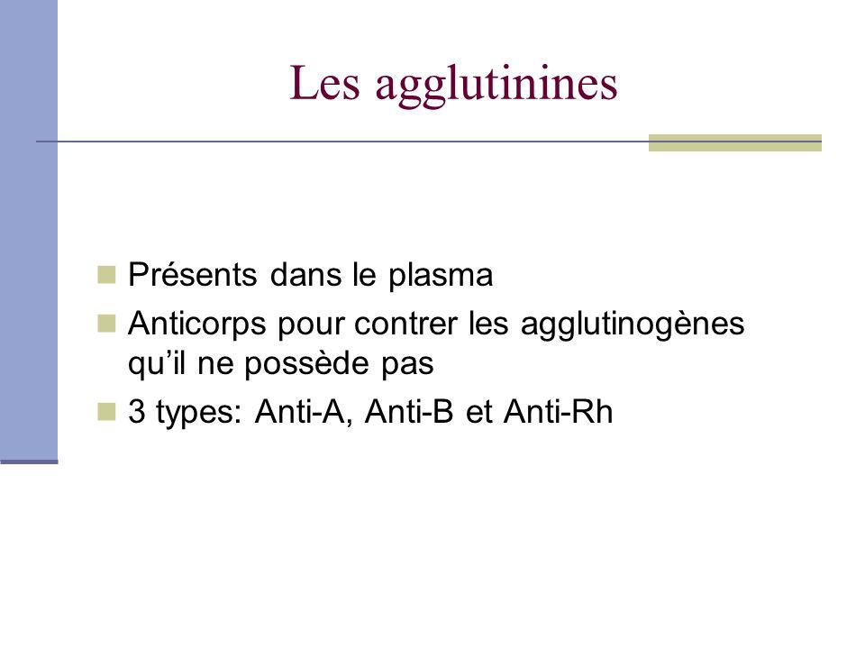 Les agglutinines Présents dans le plasma