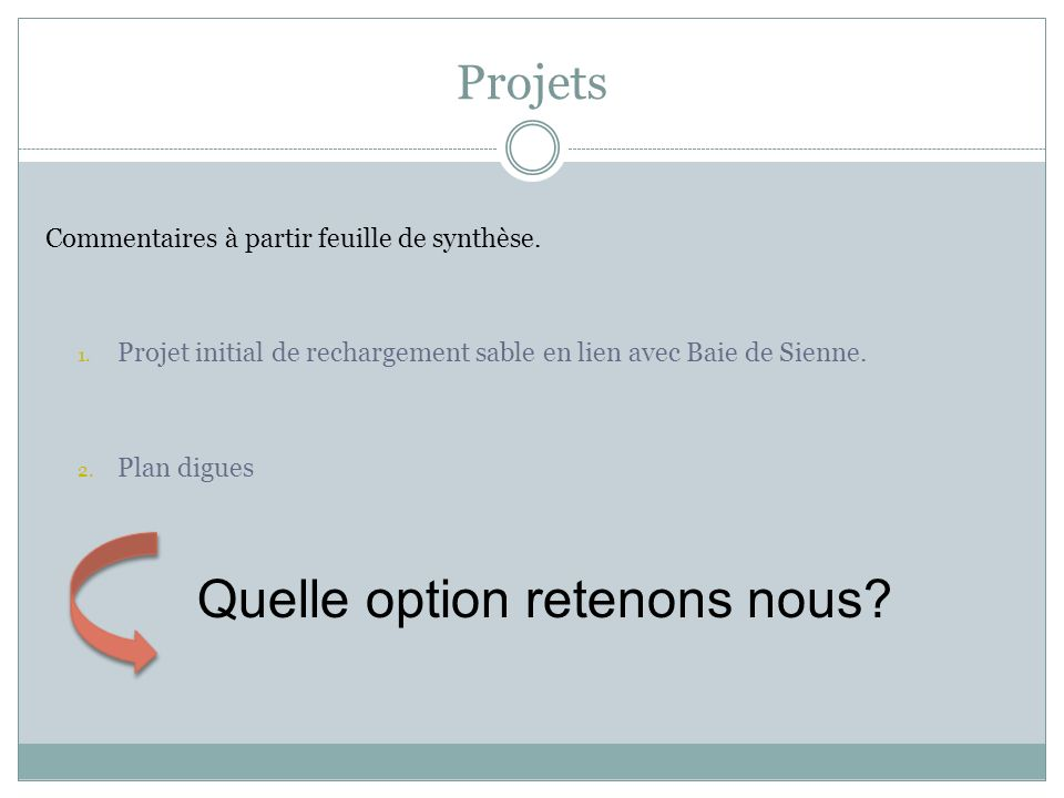 Quelle option retenons nous