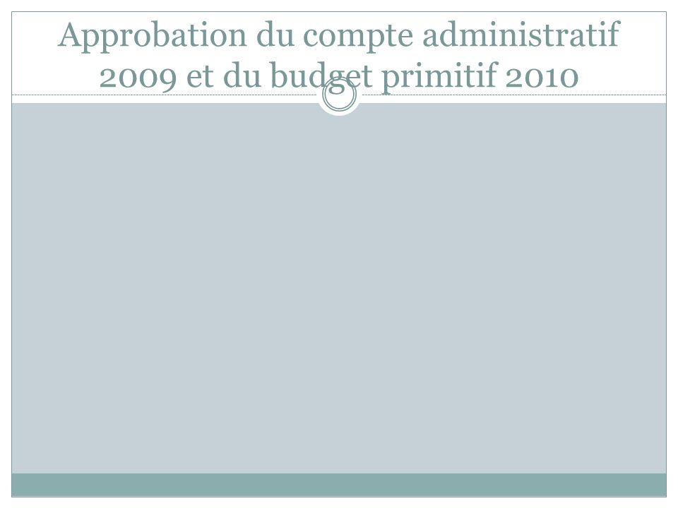 Approbation du compte administratif 2009 et du budget primitif 2010