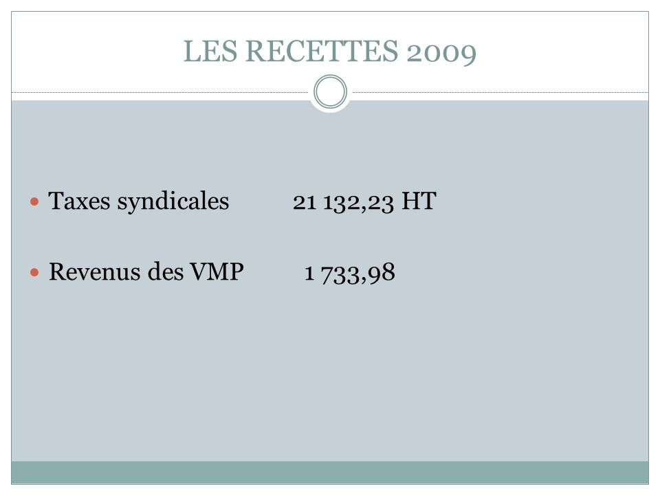 LES RECETTES 2009 Taxes syndicales 21 132,23 HT