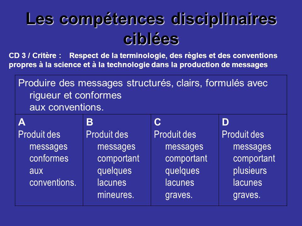 Les compétences disciplinaires ciblées