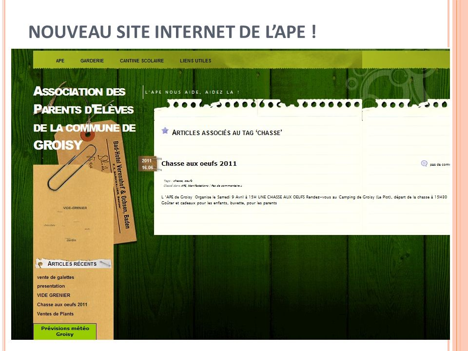 NOUVEAU SITE INTERNET DE L'APE !