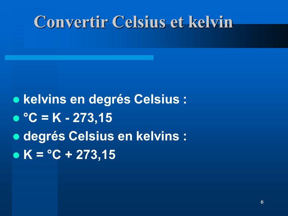 Convertir Celsius et kelvin