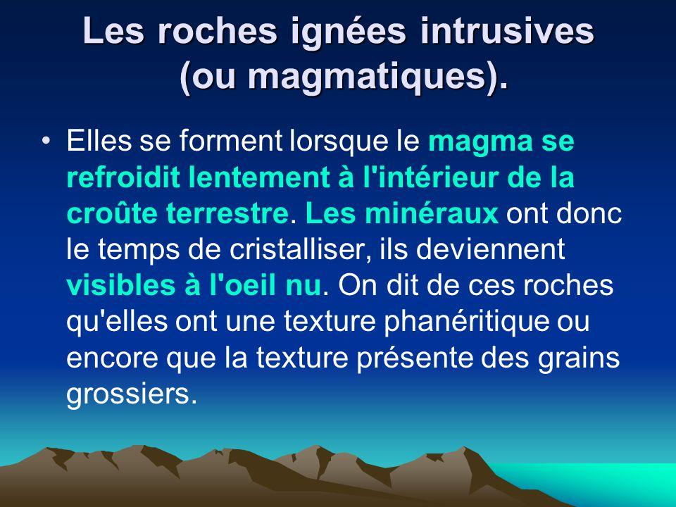 Les roches ignées intrusives (ou magmatiques).