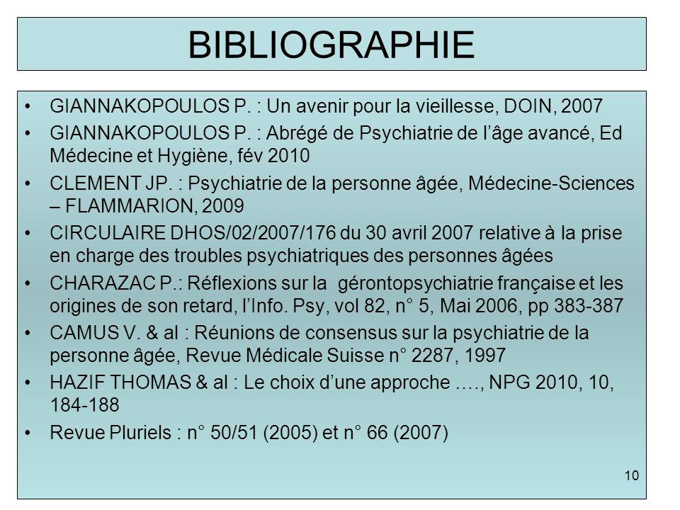 BIBLIOGRAPHIEGIANNAKOPOULOS P. : Un avenir pour la vieillesse, DOIN, 2007.