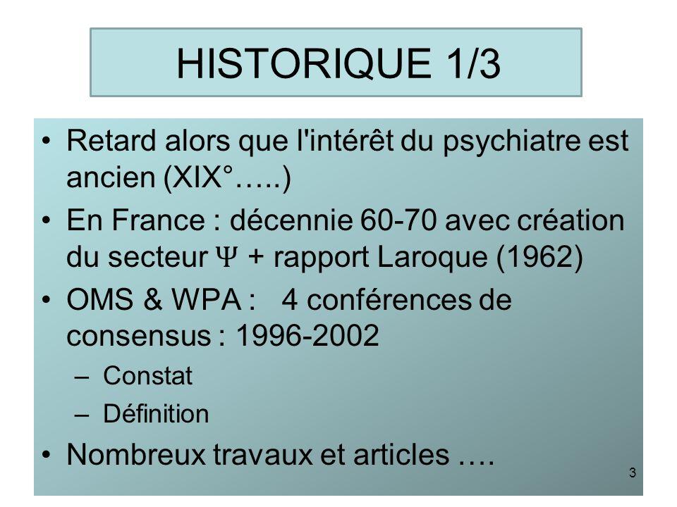 HISTORIQUE 1/3Retard alors que l intérêt du psychiatre est ancien (XIX°…..)