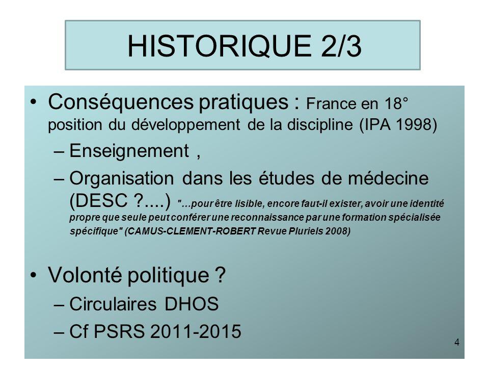 HISTORIQUE 2/3 Conséquences pratiques : France en 18° position du développement de la discipline (IPA 1998)