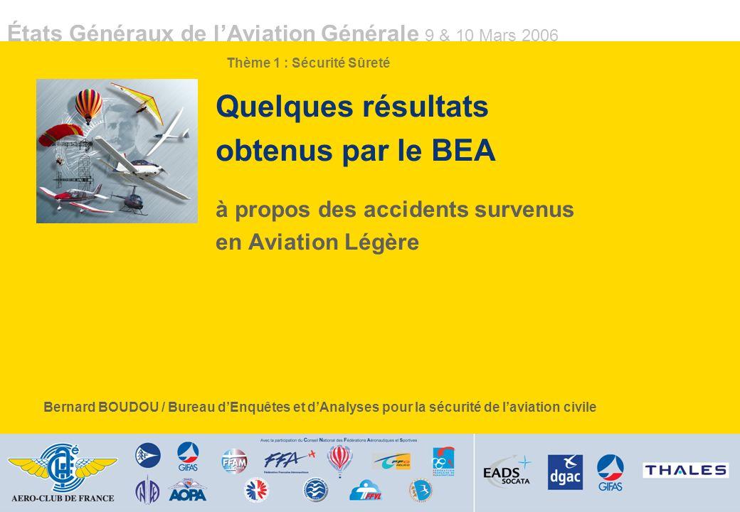 Quelques résultats obtenus par le BEA à propos des accidents survenus