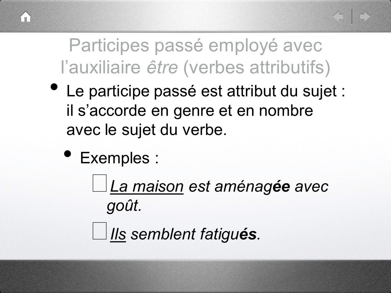 Participes passé employé avec l'auxiliaire être (verbes attributifs)