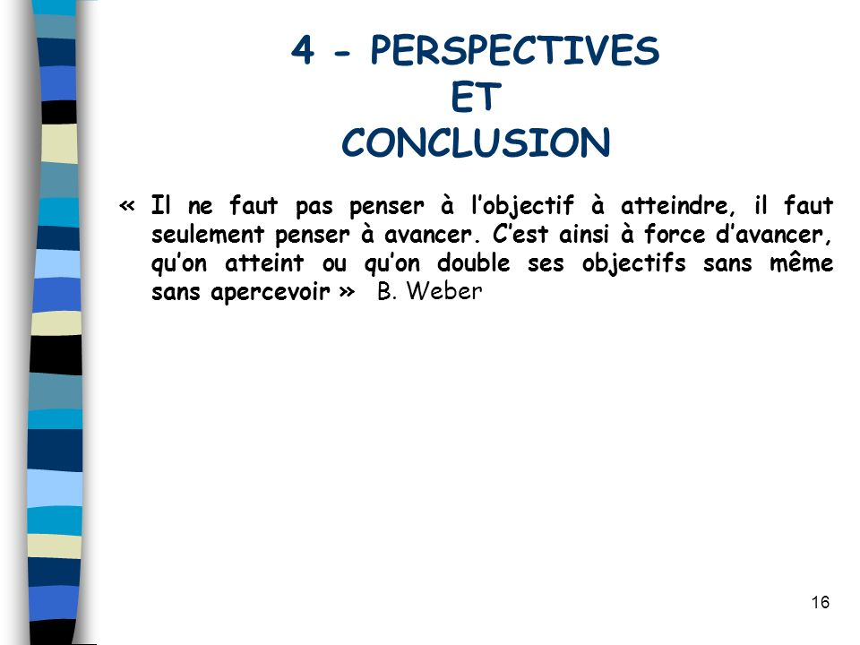 4 - PERSPECTIVES ET CONCLUSION