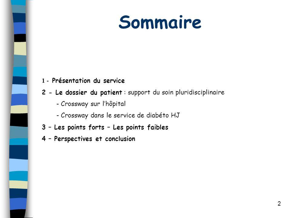 Sommaire 1 - Présentation du service